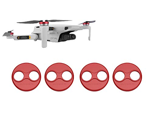 Tineer Couvercle Moteur en Aluminium Cap 4 Pièces pour DJI Mini Drone Accessoire Mavic - Anti-poussière, étanche, Anti-Rayures Housse de Protection Mounts Couverture (Rouge)