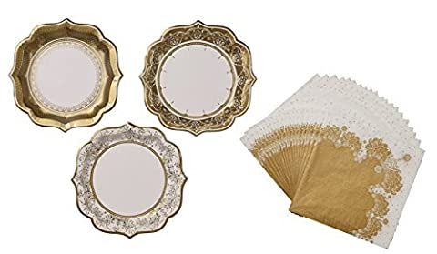 Medium Paper Plates and Napkin Set - Vintage Ivory and Gold - afternoon tea baby shower wedding!