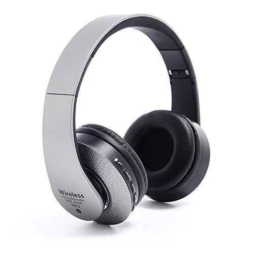 Kapel Bluetooth-Kopfhörer über Ohr, kabelloses Hi-Fi-Stereo-Headset, faltbar, mit integriertem Mikrofon und Kabelmodus, TF-Karte für PC/Handy/TV (Grau)