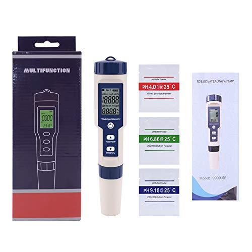 VERYZ Multifunktions-5-in-1-Tester PH/Salzgehalt/Temperatur/TDS/EG/wasserdichte Automatische Kalibrierung Austauschbare Sonde
