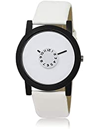 Style Keepers Attractive Stylish Sport Look White Dial Stylish White Leather Strap Analog Watch For Men & Boys