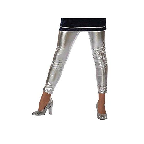 Damen-Leggings Folie, silber, Gr. 46 (Futuristische Kostüme Outfit)