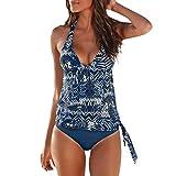 iYmitz Damen Tankini Badeanzug Monokini Push Up Bikini Zwei Teilig Einfarbig Push Sets Bademode Gepolsterter Schwimmen(Blau,EU-38/CN-L)