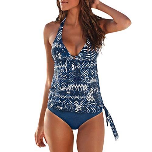 iYmitz Damen Tankini Badeanzug Monokini Push Up Bikini Zwei Teilig Einfarbig Push Sets Bademode...