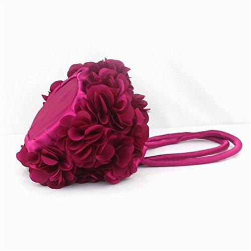 TOMATO-smile , Sac à main porté au dos pour femme bleu Spitze Lila Rose rot