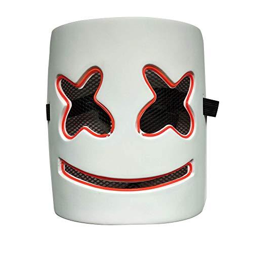 Red Kostüm Skull Cosplay - Futensil LED Halloween Schädel Maske Einstellbare Scary Masquerade Glow Mask für Festival Cosplay Halloween Kostüm- Red