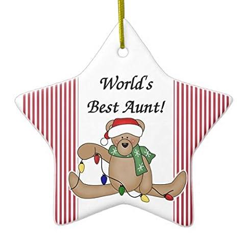 Teddy Bear Worlds Best tante Décoration Arbre de Noël Décorations vacances deux côtés Star en céramique Décoration Artisanat de cadeaux de