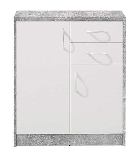 Kommode Highboard Mehrzweckschrank   Dekor   Betonoptik   Weiß   2 Türen   2 Schubladen