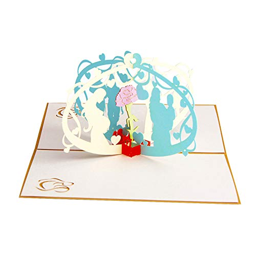 Xuxuou 3D Grußkarten Muttertagskarte Valentinstagskarte Segen Grußkarte Geburtstagskarten Kreative Grußkarte(10 * 15cm)