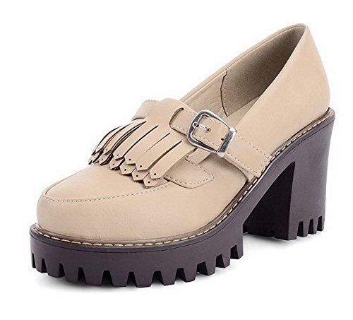 AgooLar Femme Tire à Talon Haut Pu Cuir Couleur Unie Rond Chaussures Légeres Beige