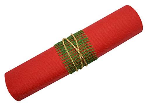12 x Servietten Rot/Dunkelgrün / Gold Weihnachten Advent fertig dekoriert gerollt mit Jute Grün und Kordel Gold stoffähnlich 40 x 40 cm