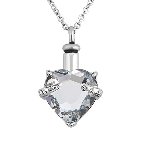 Uniqueen 12 colors heart crystal cremation urn necklace for Jewelry to hold cremation ashes