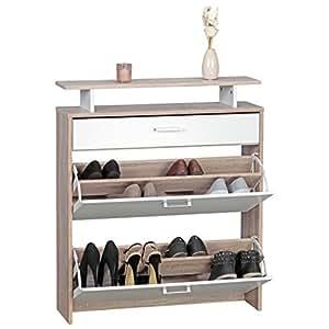 wohnling schuhschrank mdf sonoma eiche 80 cm breit schuhregal design schuh kommode modern. Black Bedroom Furniture Sets. Home Design Ideas