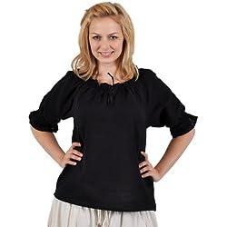 Blusa medieval - de mujer - manga corta - con encaje y ribetes de ganchillo - escote ajustable - tejido de algodón ligero - negra - XXL