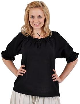 Blusa medieval - de mujer - manga corta - con encaje y ribetes de ganchillo