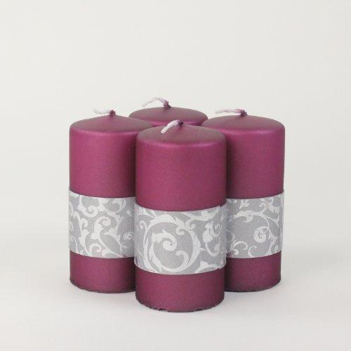 Kerzen Stumpenkerzen Adventskerzen PHILIP, 4 Stk. 100/50 mm beere silber lila violett