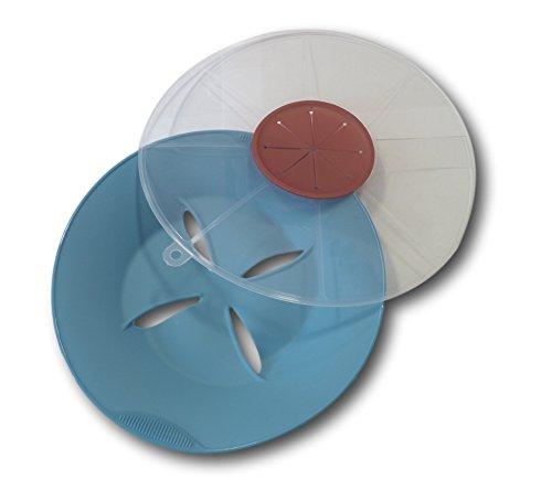 Set Silikon Topf Überlaufschutz Überkoch-Stopp Dampfgarer Mikrowellenabdeckung + Spritzschutz Deckel Abdeckung mit Öffnung für Handmixer oder Stabmixer