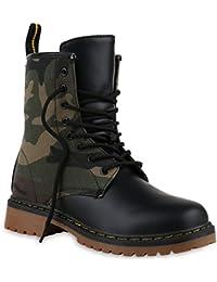 fdb199024c8f66 Stiefelparadies Unisex Damen Herren Stiefeletten Worker Boots Profilsohle  Flandell