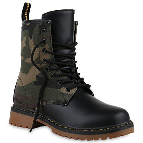 Derbe Damen Stiefeletten Worker Boots Profilsohle Camouflage Stiefel Schnür Animal Print Schuhe 128622 Camouflage Grün 44 Flandell