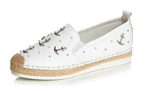 Chaussures Plates Mme Printemps Et L'automne Chaussures Décontractées Wedges Chaussures À Talons Bas Femme Blanche Chaussures Rondes Dames