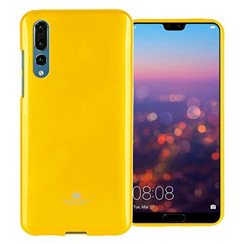 Huawei P20 Pro Hülle mit Displayschutzfolie [Slim Fit] Mercury Marlang Pearl Jelly [Flexible] Gummi TPU Case [Leichtgewicht] Schutzhülle Bumper Cover für Huawei P20 Pro, gelb -