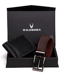 [Sponsored]WildHorn Men Black Genuine Leather Wallet Gift Set Combo