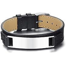 Vnox Hommes Acier Inoxydable Personnalisé Cuir Véritable Ceinture Chaîne  Fermoir Féglable Bracelet Nom Date Citation Gravure 1721103e18b6