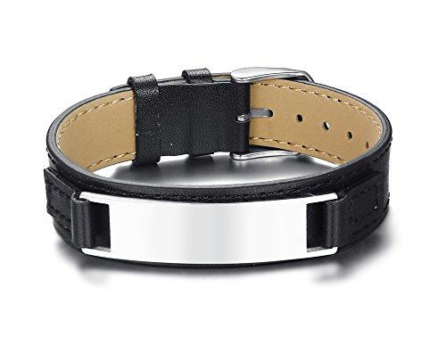 l personalisierte echtes Leder Gürtel Kette Verschluss verstellbares Armband Name Datum Zitat Gravur Brauch ()