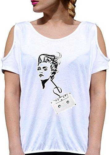 JODE T Shirt Girl GGG27 Z3074 Vintage Cassette Tapes Woman Music Fun Fashion Cool Bianca - White XL