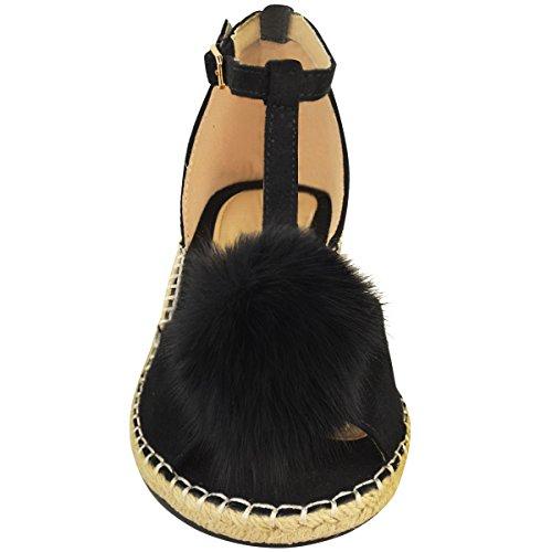 Scarpe Basse Da Donna Espadrillas Sandali Pom Pom Décolleté Alla Caviglia Scarpe Con Cinturino Misura Nera Pelle Scamosciata