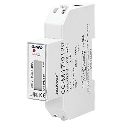 Orno WE-519 LCD Digitaler Wechselstromzähler, 1-Phasen-Anzeige des Stromverbrauchs mit MID Zertifikat, 40A Power Meter Strommesser Verbrauchsmessgerät - Breite Zähler Einheit