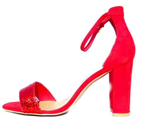 Donna New Look Da Festa Punta Aperta Scarpe Eleganti Rosso