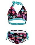 DUSISHIDAN Badeanzug Kinder, Zweiteiliger Bandage Bikinis für Mädchen Farbige Schlinge, Palme 134-146 M(8-10)