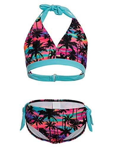 DUSISHIDAN Mädchen Schwimmanzug Zweiteiliger Bandage Bademode, Schlinge Bikini Mädchen Palme164-176 XL(16)