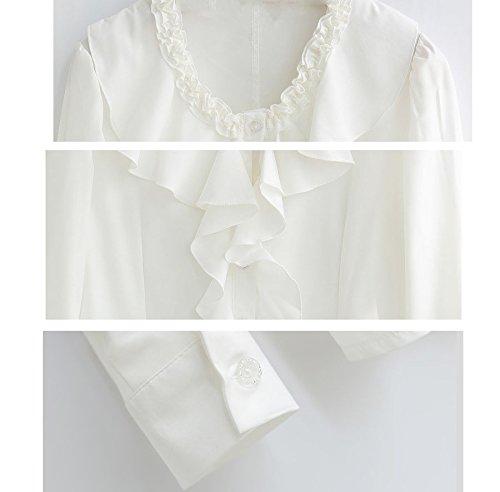Nanxson Chemisier Blouse Femmes avec Jabot Dentelle Manches Longues CSW0049 Blanc