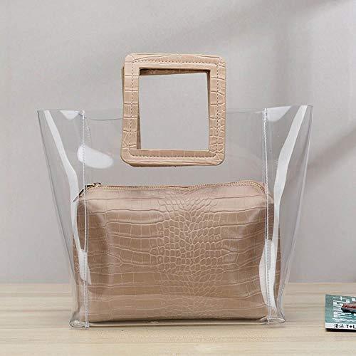 cineman Transparente Umhängetasche, Koreanische Art Frauen Einkaufstasche klare transparente zusammengesetzte Tasche Handtasche