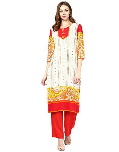Jaipur Kurti Cotton Embroidered Kurtas (Off-White)