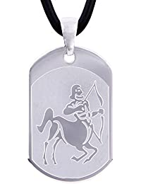 DonDon 50 cm Kautschuk Halskette mit Edelstahl Sternzeichen Schütze Anhänger in einem Samtbeutel