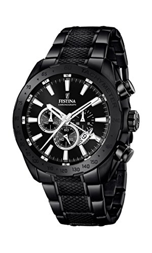 Festina Men's Quartz Watch with Black Dial Chronograph Display and Black Stainless Steel Plated Bracelet F16889/1