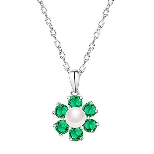SWEETIEE - Collier en Argent 925 Sterling, Pendentif Fleur Pave Zircon Avec Perle d'Eau Douce, Platine, 450mm Vert
