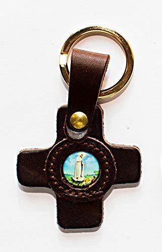 adriatica Cuero Llavero de Piel Cruz Cuadrada, Imagen congeladores Virgen de fátima, Paquete de 3Unidades, Color Blanco,