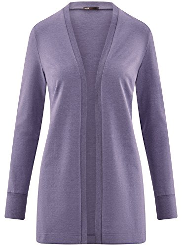 oodji Ultra Damen Verschlussloser Jersey-Cardigan Blau (7500M)