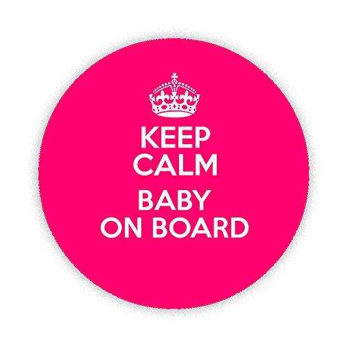 Keep Calm And Baby on Board (Rose badge) Imprimé sur mesure conçu 58mm Miroir compact rond. fantaisie Miroir de maquillage Idéale pour votre sac à main. fantaisie Cadeau