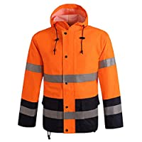HDH Orange Hi VIS Bomber Jacket High Visibility Safety Reflective Coat Waterproof Workwear Hi Viz Bomber Raincoat