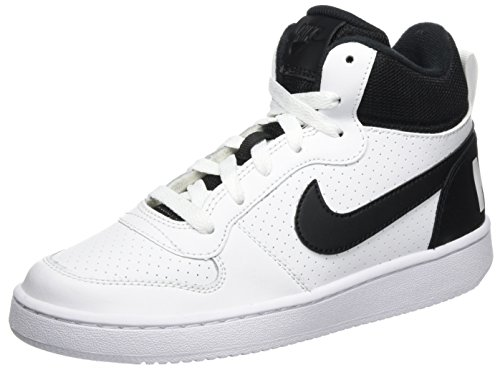NIKE Unisex-Kinder Court Borough Mid (GS) Basketballschuhe, Weiß (White Black), 36 EU