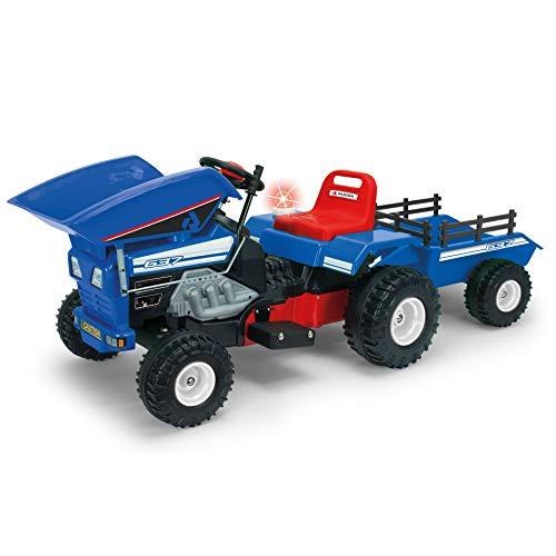 INJUSA- Color Azul Tractor Dump Track de 12V con Volquete y Remolque Recomendado para Niños de +3 Años, 637
