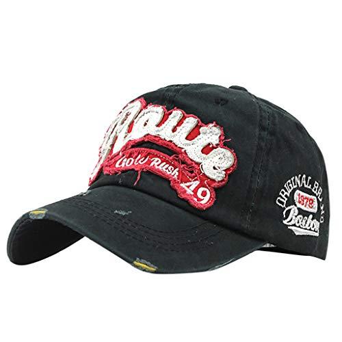 EUCoo Mode StraßE Hip Hop Hut Outdoor Mode Baumwolle QualitäT Stickerei Baseball Cap Verstellbare Kappe(Schwarz)