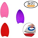 Set Of 3 – Iron Mat -Silicone Heat Resistant Hot Protection Iron Rest Pad Ironing Helpers Ironing Insulation Boards - Iron Pad For Dry/Steam Iron - Red, Pink & Purple Color By Shuban