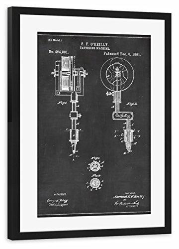 artboxONE Poster mit Rahmen Schwarz 75x50 cm Tattoomaschine Blaupause von Artkuu - gerahmtes Poster