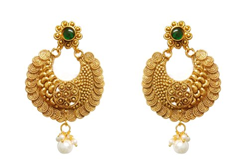 Chandrika Pearls Gems & Jewellers Ram Leela Inspired Kundan Polki cubic zirconia navratri garba dandia copper Earrings for women and girls  available at amazon for Rs.295